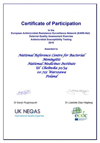 Certyfikat EARS-Net_2016