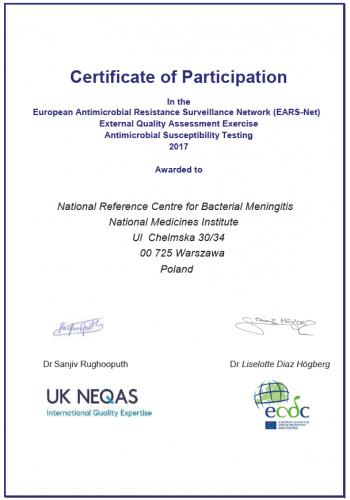Certyfikat _EARS-Net_2017
